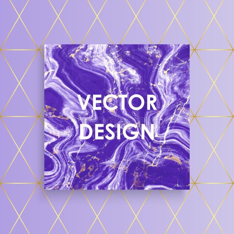 La carte de marbre pourpre abstraite de texture, dirigent le gradient pourpre avec des lignes fond d'or de modèle, placent votre  illustration stock