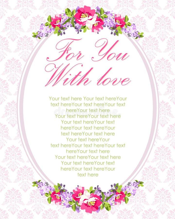 La carte de mariage avec les fleurs lilas et s'est levée illustration libre de droits