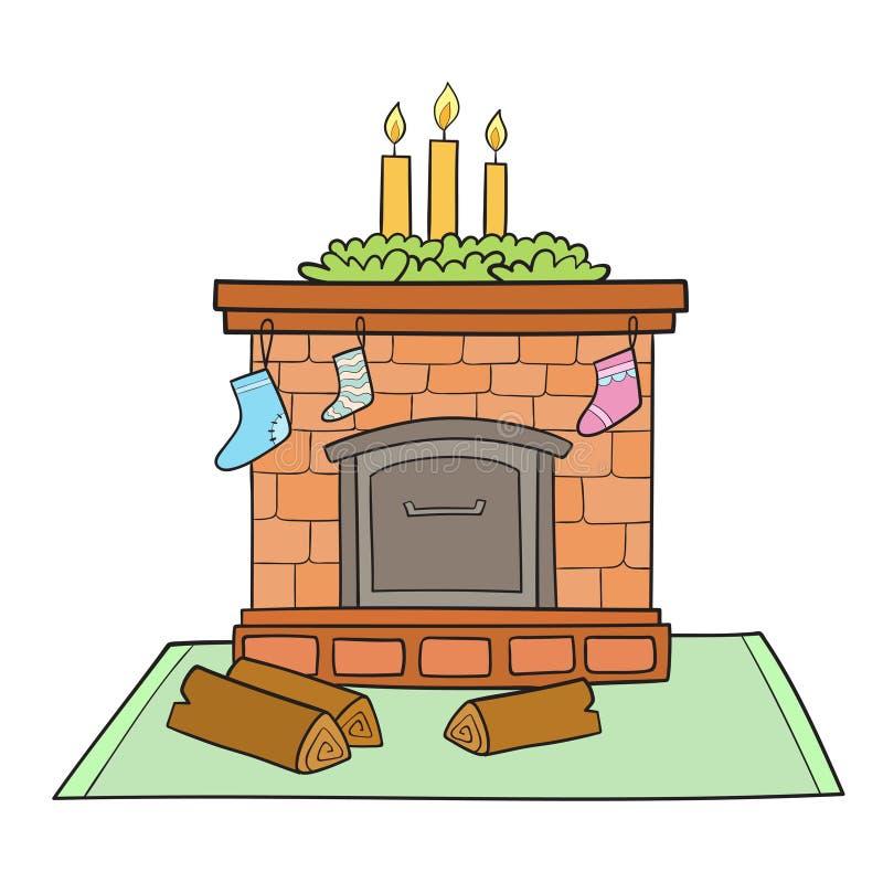 La carte de Noël avec la cheminée a décoré des chaussettes pour les cadeaux et le cand illustration stock