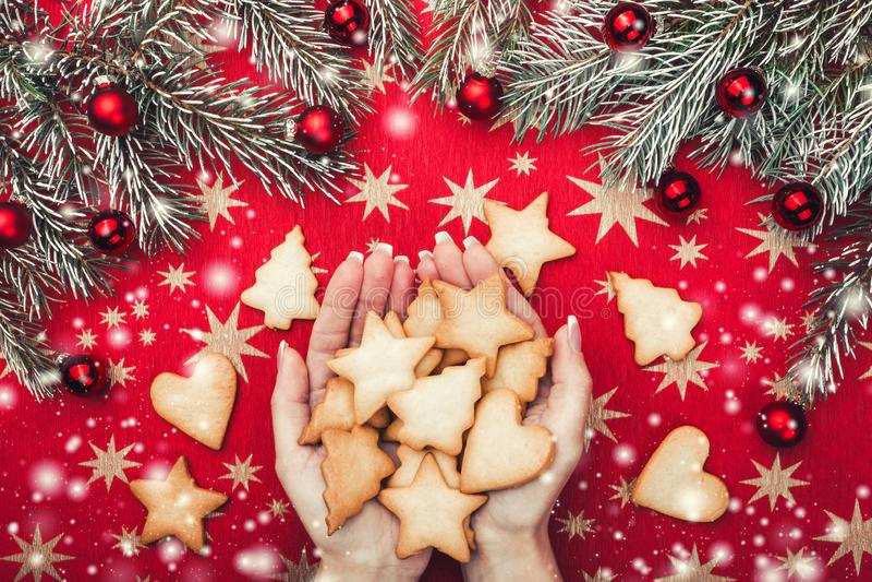La carte de Noël, ` de dames remet tenir des biscuits de Noël Branches de sapin avec les boules rouges Vue supérieure Effet de ne photo stock