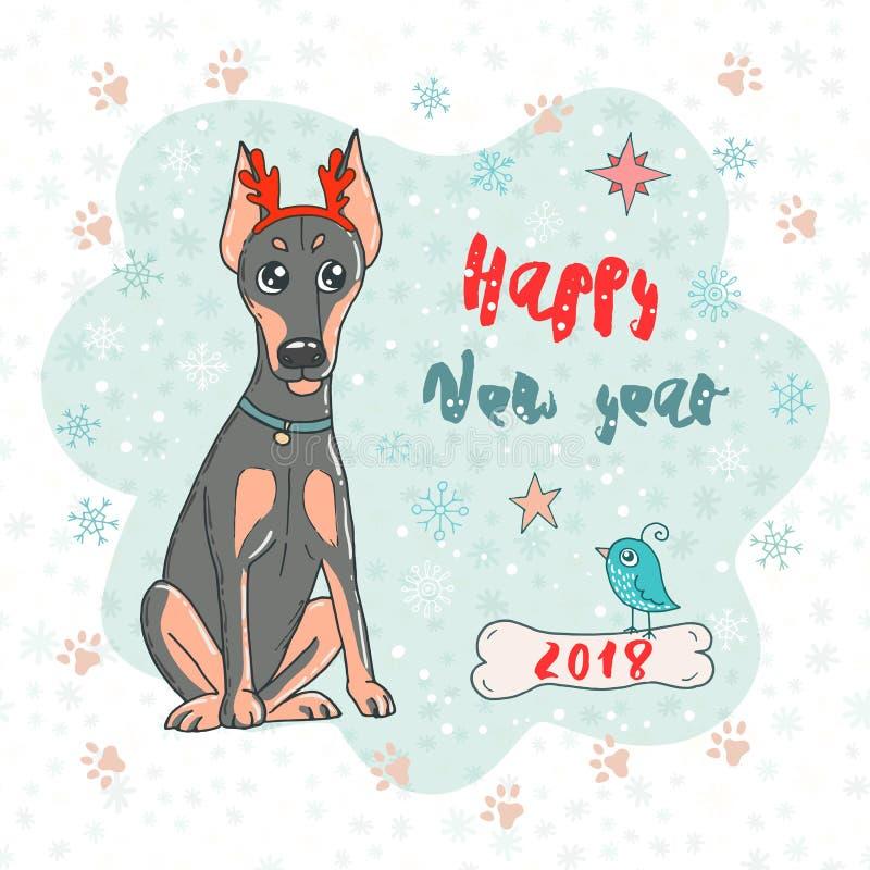 La carte de Noël et de bonne année avec le dobermann poursuivent la jante de klaxon de port de cerfs communs et l'oiseau mignon illustration libre de droits