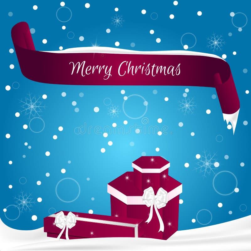 La carte de Noël faite dans le bleu avec des flocons de neige, bannière rouge avec le Joyeux Noël de mots sur le mensonge de neig illustration stock
