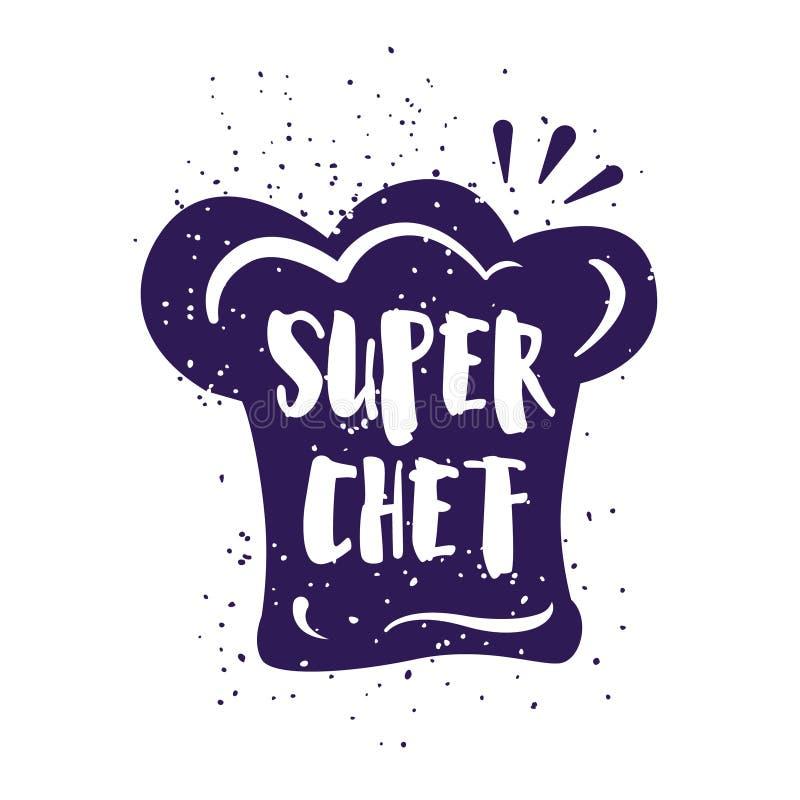 La carte de nourriture avec le chapeau du ` s de chef et le lettrage textotent sur le fond blanc Dirigez l'illustration pour les  illustration stock