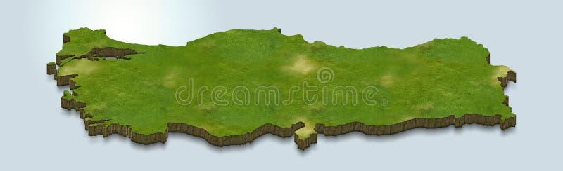La carte de la Turquie est verte sur un fond 3d bleu illustration de vecteur