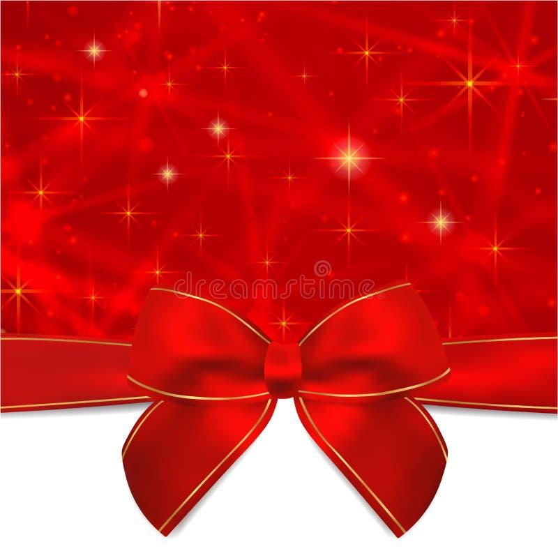 La carte de vacances, carte de Noël, la carte d'anniversaire, calibre de carte cadeaux (carte de voeux) avec l'arc rouge, ruban,  illustration libre de droits