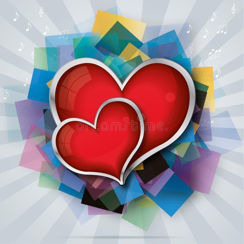 La carte de Valentine avec deux coeurs en verre rouges illustration libre de droits