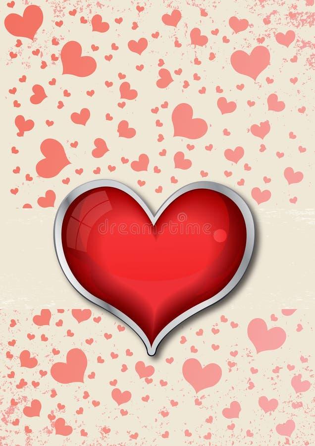 La carte de Valentine avec le coeur illustration libre de droits