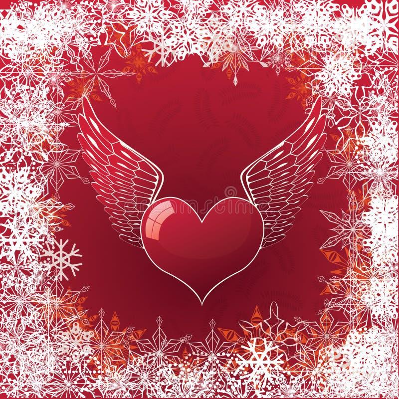 La carte de Valentine avec le coeur et les ailes illustration stock