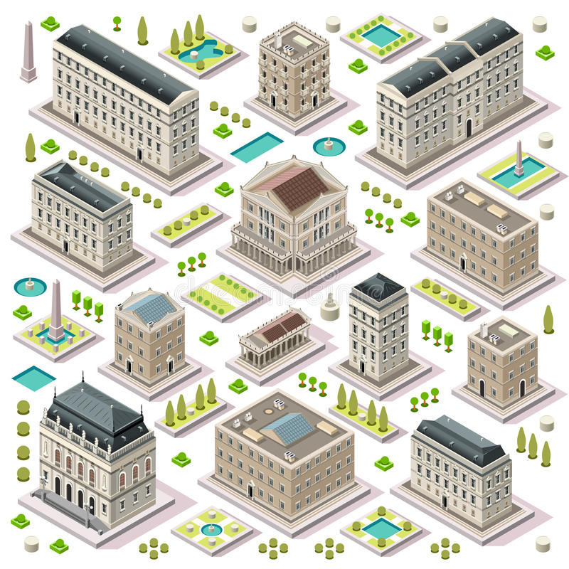 La carte de ville a placé 05 tuiles isométriques illustration de vecteur