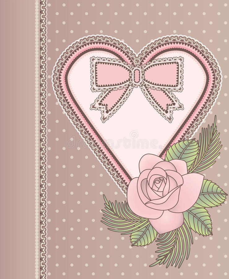 La carte de vintage d'amour avec le coeur et s'est levée illustration libre de droits