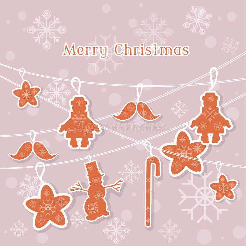 La carte de vintage de Joyeux Noël joue l'arbre de Noël illustration de vecteur