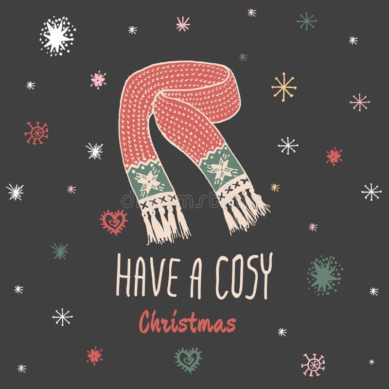 La carte de vintage de Noël avec avec l'écharpe tricotée tirée par la main et le texte 'ont Noël confortable' illustration stock