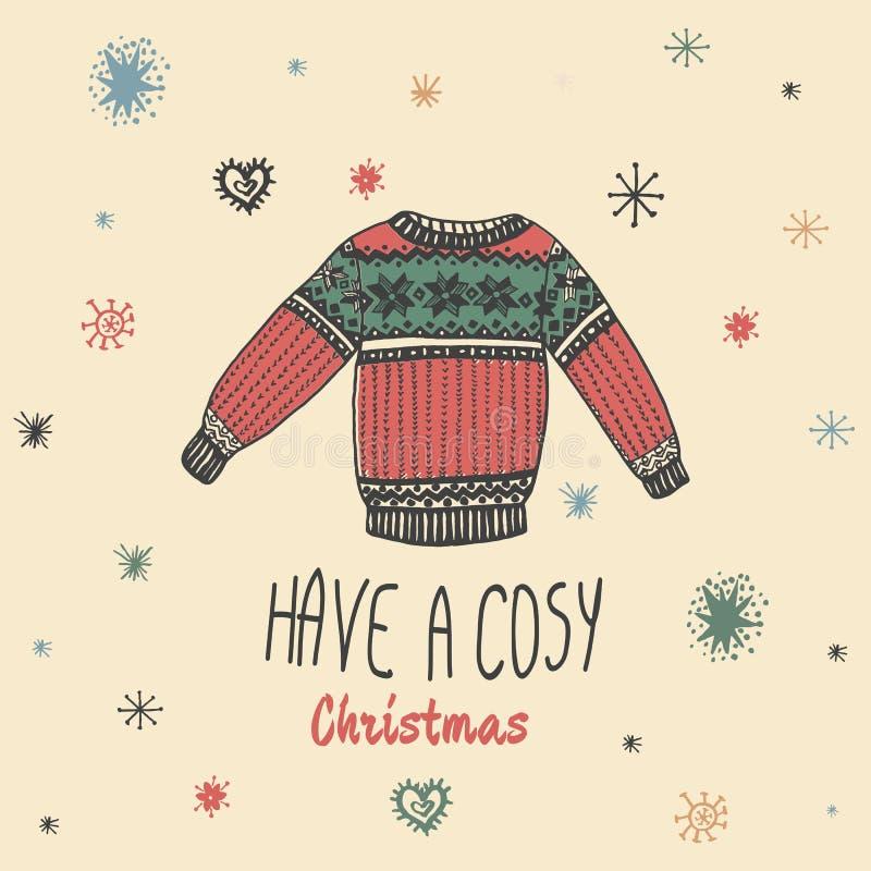La carte de vintage de Noël avec avec le chandail tiré par la main et le texte 'ont Noël confortable' illustration libre de droits