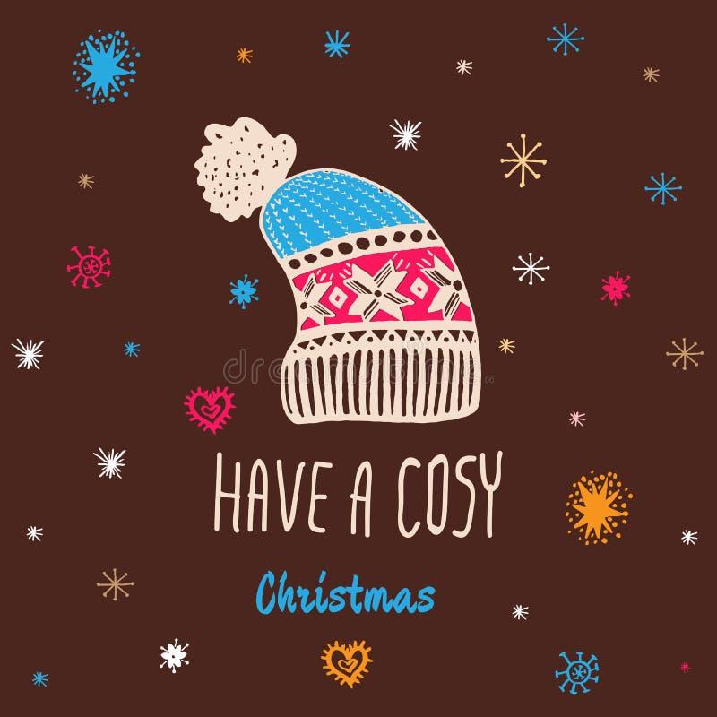 La carte de vintage de Noël avec avec le chapeau tricoté tiré par la main d'hiver et le texte 'ont Noël confortable' illustration de vecteur