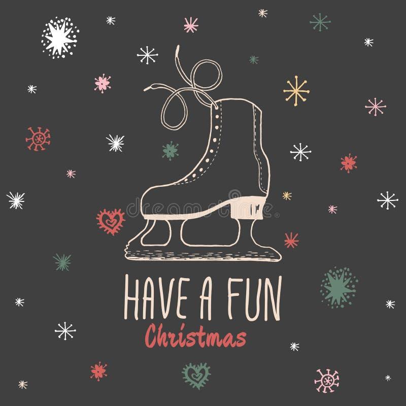 La carte de vintage de Noël avec avec les patins de glace tirés par la main et le texte 'ont Noël d'amusement' illustration stock