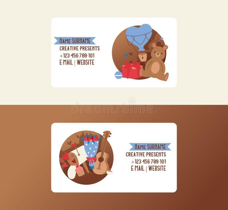 La carte de visite professionnelle de visite mignonne de jour de Valentine s a placé l'illustration de vecteur de coeur avec des  illustration libre de droits