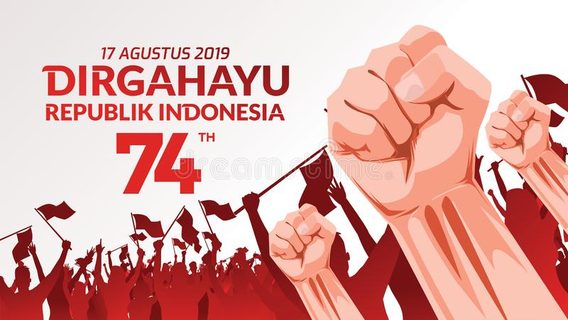 La carte de voeux de 17 August Indonesia Happy Independence Day avec des mains a serré, esprit de symbole de liberté Utilisation  illustration de vecteur