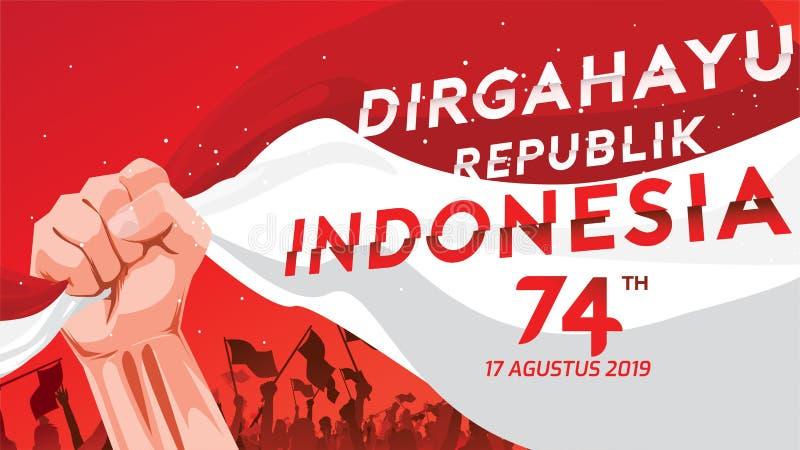 La carte de voeux de 17 August Indonesia Happy Independence Day avec des mains a serré, esprit de symbole de liberté Utilisation  illustration stock