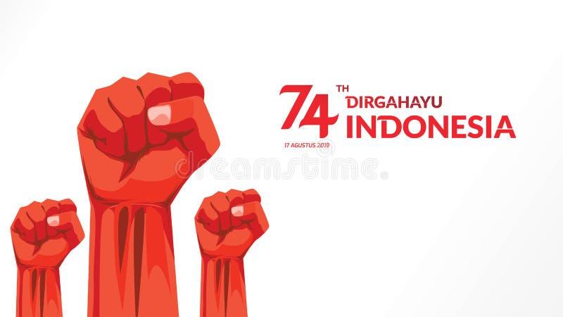 La carte de voeux de 17 August Indonesia Happy Independence Day avec des mains a serré, esprit de symbole de liberté Utilisation  illustration libre de droits