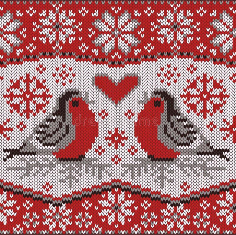 La carte de voeux avec des bouvreuils, nordic a tricoté le modèle illustration stock