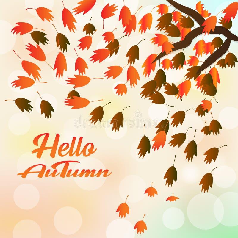 La carte de voeux avec l'automne d'inscription bonjour et la chute tirée par la main d'aquarelle part illustration stock