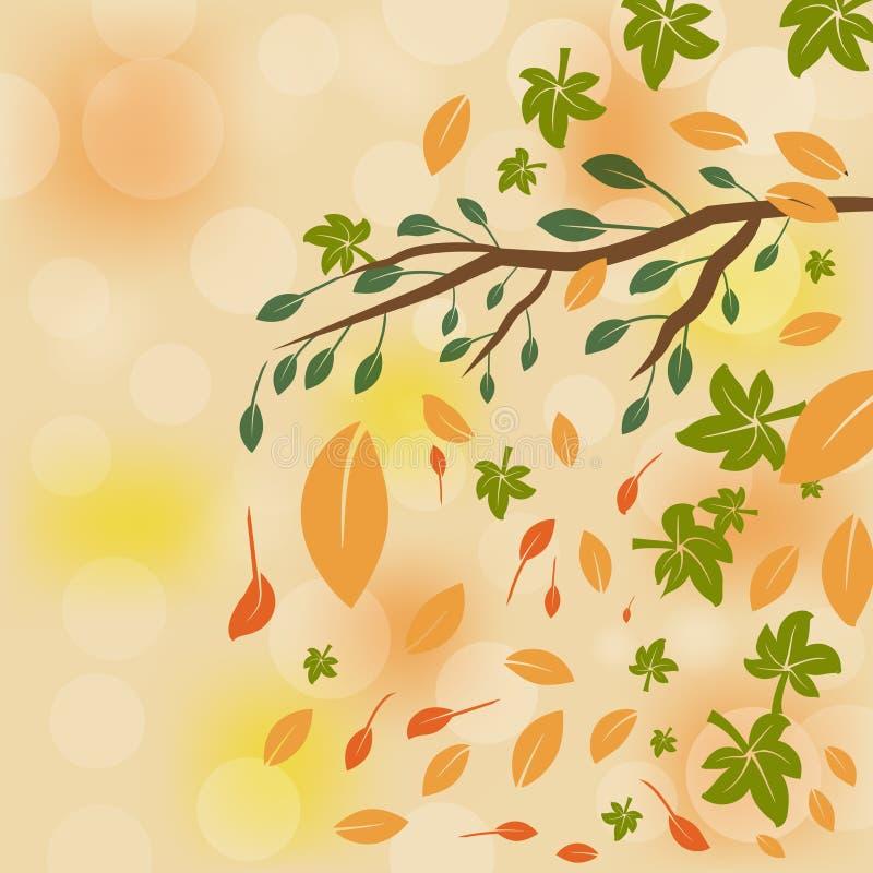 La carte de voeux avec l'automne d'inscription et la chute tirée par la main d'aquarelle part illustration stock
