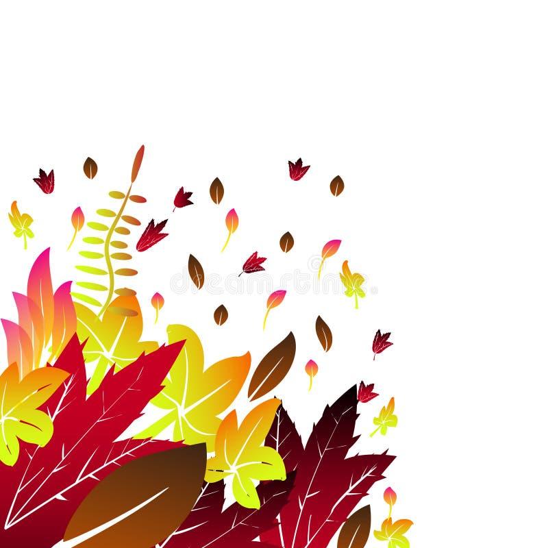 La carte de voeux avec l'automne d'inscription et la chute tirée par la main d'aquarelle part fond orange de feuille d'érable d'a illustration libre de droits