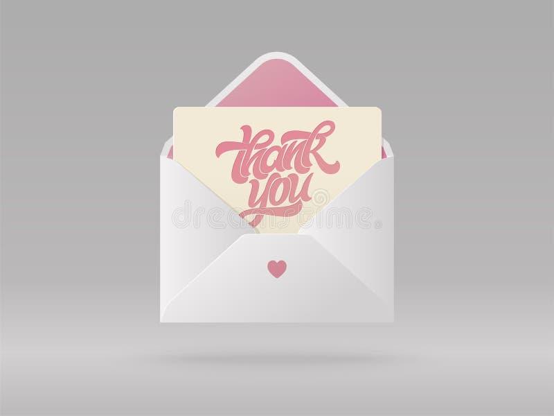 La carte de voeux avec l'expression vous remercient dans l'enveloppe ouverte Belle illustration réaliste de vecteur Brosse écrite illustration libre de droits