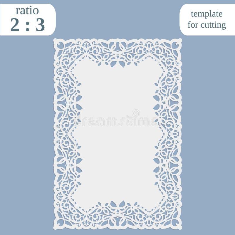 La carte de voeux avec la frontière à jour, le napperon de papier rectangulaire, calibre pour couper, épousant l'invitation, plat illustration stock