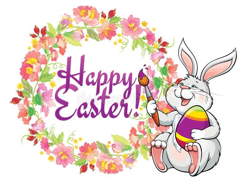 La carte de voeux avec le beau lapin de Pâques et le ressort fleurissent le cadre illustration de vecteur