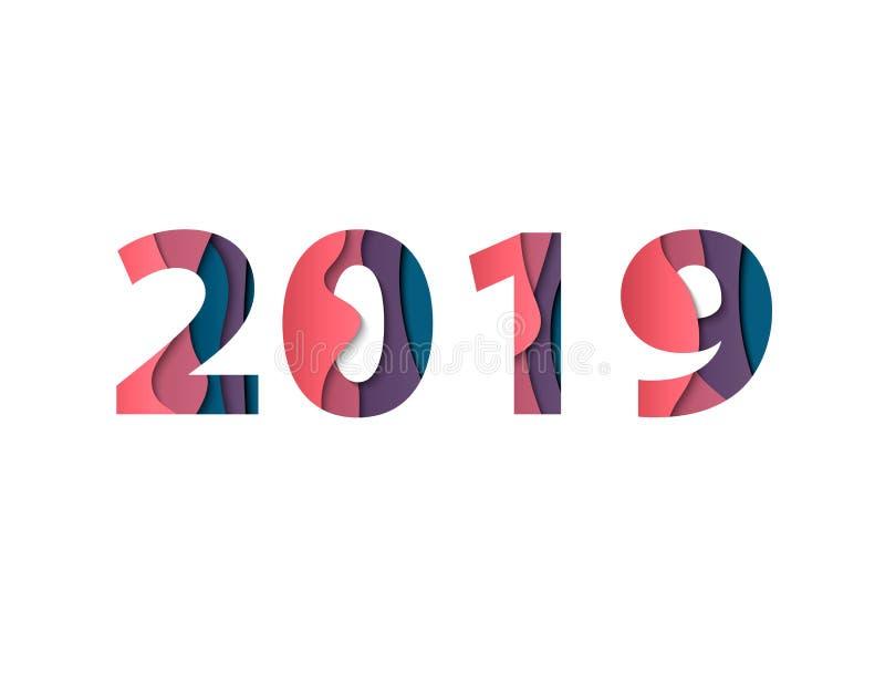 La carte de voeux 2019 de bonne année avec le papier a coupé l'effet des nombres multicouche de vecteur de couleur pour le backg  illustration libre de droits