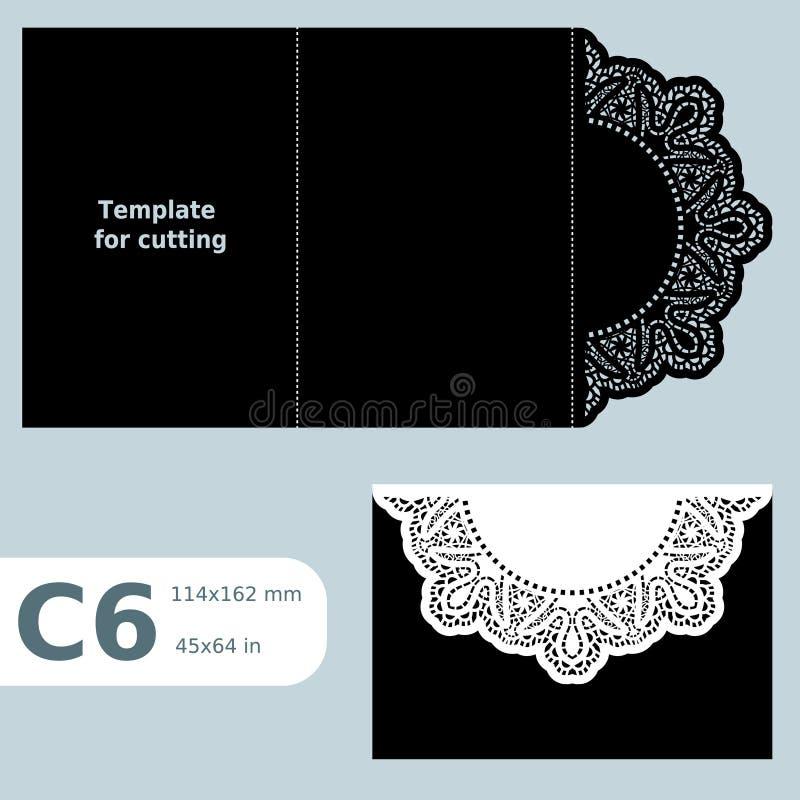 La carte de voeux C6 à jour de papier, calibre pour couper, l'invitation de dentelle, ard de  de Ñ avec le pli raye, fond d'isol illustration stock