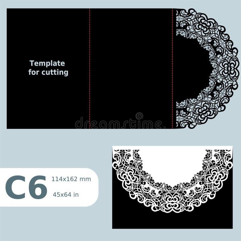 La carte de voeux C6 à jour de papier, invitation de mariage, l'invitation de dentelle, carte avec le pli raye, fond d'isolement  illustration libre de droits