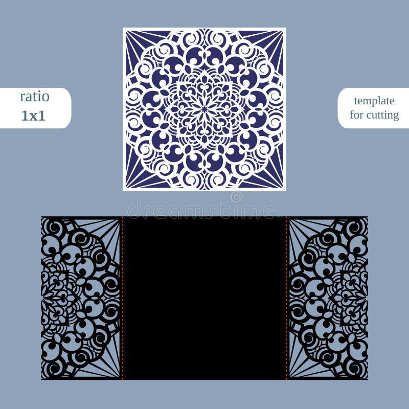 La carte de voeux carrée à jour de papier, l'invitation de mariage, calibre pour couper, lacent l'imitation, coupe sur le traceur illustration libre de droits