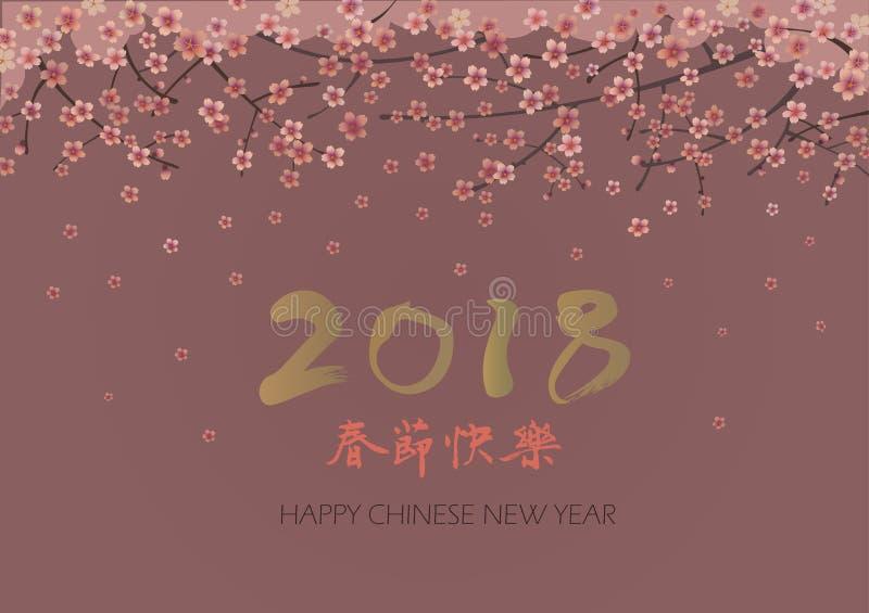 La carte de voeux chinoise de la nouvelle année 2018 avec des branches de Sakura et la main noient la calligraphie illustration stock