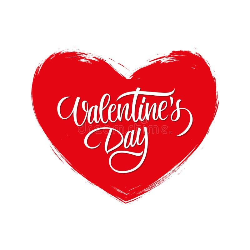 La carte de voeux de jour du ` s de Valentine avec la conception calligraphique des textes de lettrage et la brosse frottent la f illustration de vecteur