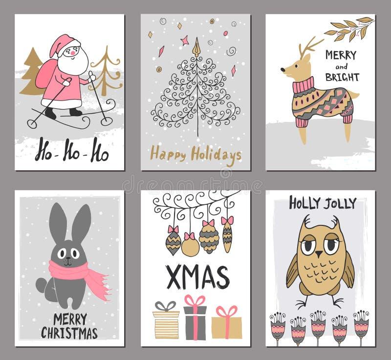 La carte de voeux de Joyeux Noël a placé avec Santa mignonne, arbre, cerfs communs, lapin, hibou et d'autres éléments Cartes tiré illustration libre de droits