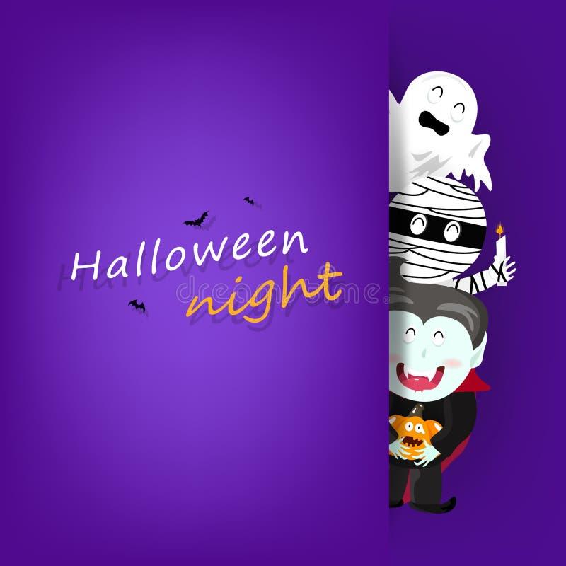 La carte de voeux de nuit de Halloween, heureuse célèbrent le vampire, le potiron, la maman et le vecteur fantasmagorique et mign illustration libre de droits