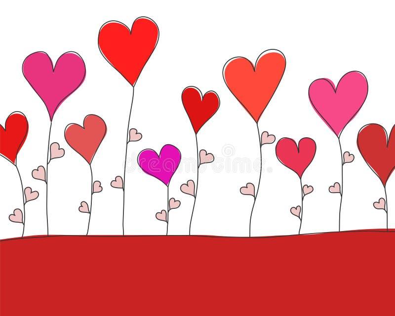 La carte de voeux pour St Valentine Day avec le rouge fleurit des coeurs, sto illustration stock