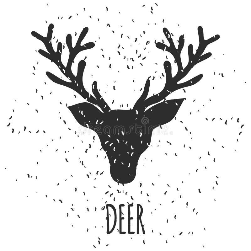 La carte de voeux tirée par la main de Noël et de nouvelle année avec les cerfs communs noirs de croquis dirigent la silhouette illustration de vecteur