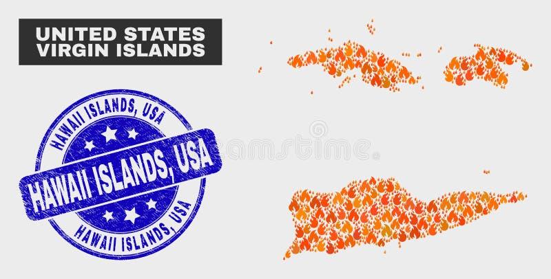 La carte des Îles Vierges d'Américain de mosaïque de brûlure et les îles grunges d'Hawaï, Etats-Unis emboutissent illustration libre de droits