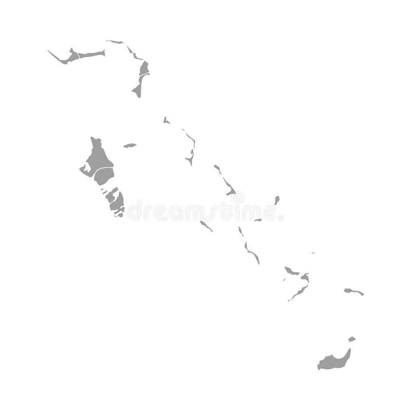 La carte des Bahamas sur le vecteur blanc de fond, contour de carte des Bahamas forment le gris sur l'illustration blanche de vec illustration stock