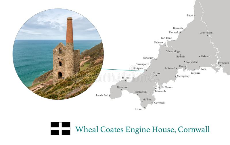 La carte des Cornouailles, comportant l'image photographique de la Chambre de moteur de Wheal Coates, et des villes principales d image stock