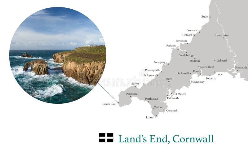 La carte des Cornouailles, comportant l'image photographique des terres finissent, et les villes principales dans les Cornouaille images stock