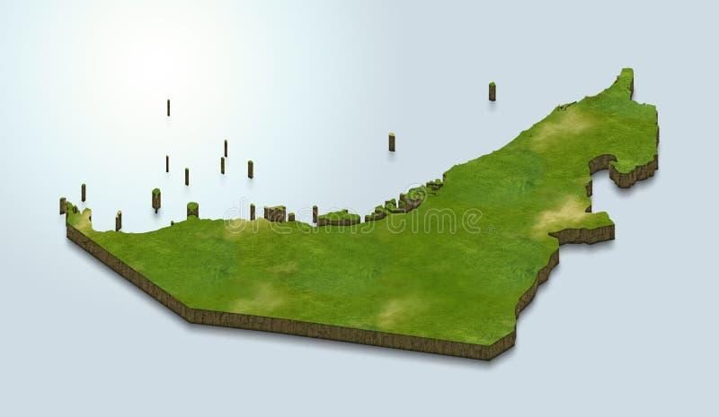 La carte des Emirats Arabes Unis est verte sur un fond 3d bleu illustration de vecteur