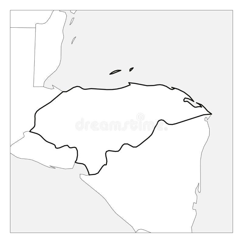 La carte du contour épais de noir du Honduras a accentué avec les pays voisins illustration stock