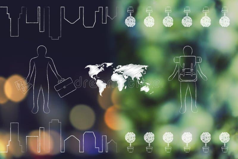 La carte du monde avec l'homme d'affaires au-dessus de la nuit allume le bokeh et le backpacke illustration libre de droits