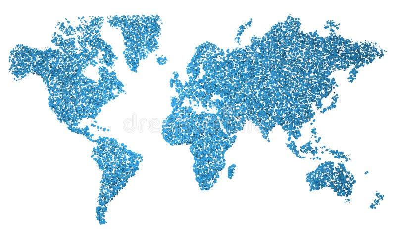 La carte du monde, carte, a stylisé, les places bleues illustration stock