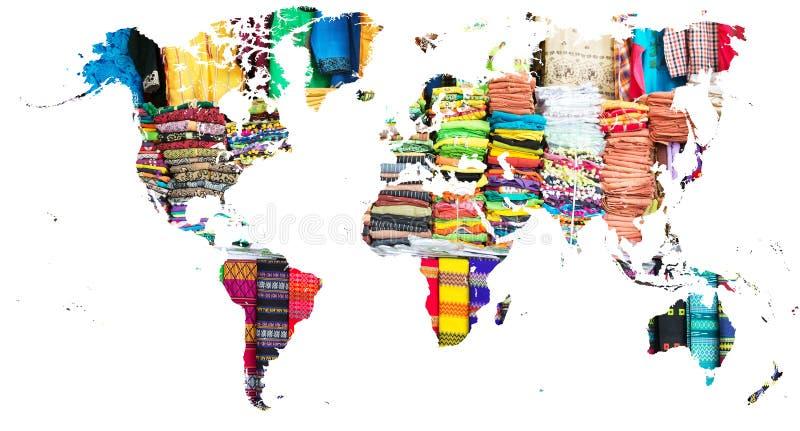 La carte du monde a coupé dans les tissus colorés multi de Myanmar illustration de vecteur