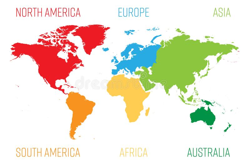 La carte du monde s'est divisée en six continents Chaque continent dans la couleur différente Illustration plate simple de vecteu illustration de vecteur